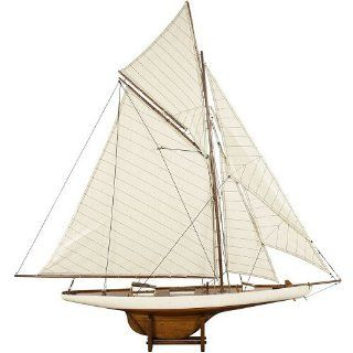America's Cup Columbia 1901, Medium, French Finish   Detailed Wooden Nautical Ships and Boats Models, Sailboats and Yachts   45.1 x 7.1 x 46.7 in   Home Decor Accents