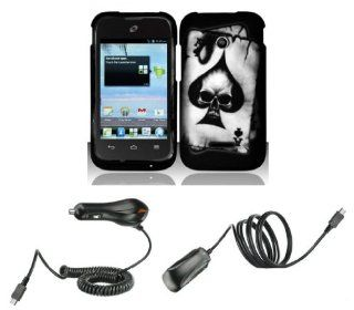 Huawei Inspira H867G / Glory H868C   Accessory Combo Kit   Black Ace Skull Design Shield Case + Atom LED Keychain Light + Wall Charger + Car Charger Cell Phones & Accessories