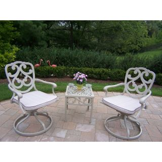 Oakland Living Pacifica Cast Aluminum Swivel Rocker Set   Beach Sand   Conversation Patio Sets