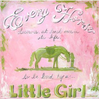 Oopsy daisy A Girl and Her Horse Canvas Wall Art by Jones Segarra, 14x14 in   Childrens Wall Decor