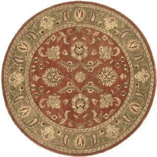 8' Las Margaritas Green and Raw Sienna Orange Wool Round Area Throw Rug   Hand Tufted Rugs