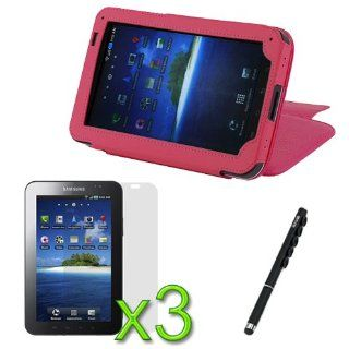 iKross Capacitive Stylus Ball Pen with Suction Cups (Black) + Hot Pink High Quality Premium Leather Case Folio with Built in Stand + 3 X LCD Screen Protector for Samsung Galaxy Tab SCH I800 / P1000 / SGH T849 / SPH P100 Computers & Accessories