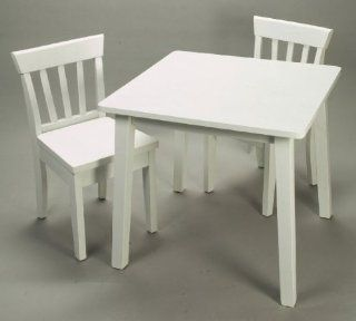 "Square Kids' Table and Chair Set   3 Piece (White) (21""H x 24""W x 24""D)   Childrens Furniture Sets"