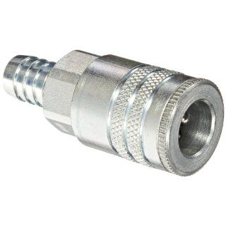 "Dixon Valve DC2645 Steel Air Chief Industrial Interchange Quick Connect Air Hose Socket, 3/8"" Coupler x 1/2"" Hose ID Barbed, 70 CFM Flow Rating Air Tool Fittings"
