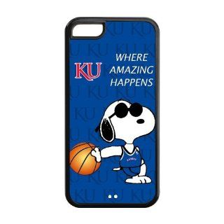 Ncaa Kansas Jayhawks KU Logo Funny Snoopy Blue Iphone 5c Hard Plastic Case Cover Cell Phones & Accessories