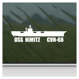 Uss Nimitz Cvn 68 Us Navy Carrier White Sticker Decal Car Window Wall Macbook Notebook Laptop Sticker Decal   Decorative Wall Appliques