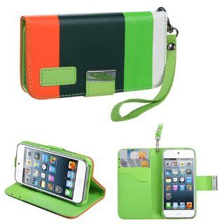 IMAGITOUCH(TM) 4 Item Combo APPLE iPod touch (5th generation) Colorful(Green Dark green Orange) Premium Book Style Wallet Case with Credit Card Slot (854) (Stylus pen, ESD Shield bag, Pry Tool, Phone Cover) Cell Phones & Accessories