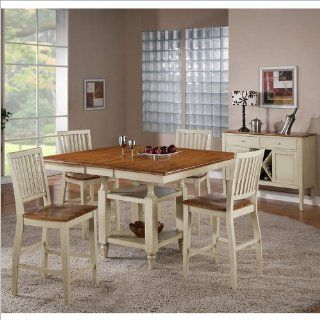 Steve Silver Company Candice 5 Piece Counter Dining Table Set in Oak and White Home & Kitchen