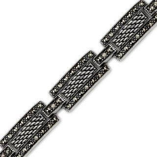 Inspirational Beauty Sterling Silver Rhodium Nickel Finish Marcasite Antique Style 7 inch Rectangular Link Bracelet Peora Jewelry
