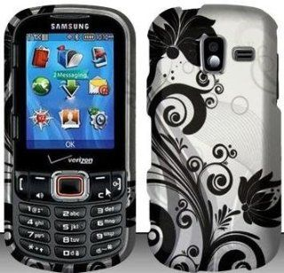 Black Flowers Hard Snap On Case Cover Faceplate Protector for Samsung Intensity 3 U485 Verizon + Free Texi Gift Box Cell Phones & Accessories