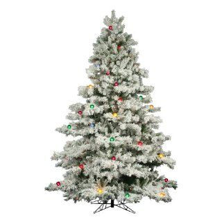 9 ft. Artificial Christmas Tree   Classic PVC Needles   Flocked Alaskan   Prelit with Multi Color Globe Bulbs   Vickerman A806383   Palm Plant Potted Storage