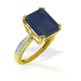 7.25 CT Octagon Sapphire Ring with Diamond Accents in 14k Yellow Gold Jewelry