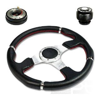 "SW T140+HUB OH124+QL 2, 320mm 12.5"" Black PVC Leather Red Stitch Silver Spoke 6 Hole Racing Aluminum Steering Wheel with OH124 Short Hub Adapter and 2"" Slim Quick Release with Horn Button Automotive"