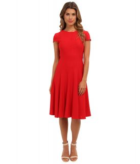 Jessica Howard Cap Sleeve Seamed Pin Tuck Fit Flare Dress Womens Dress (Red)
