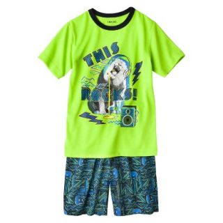 Cherokee Boys 2 Piece Lion Short Sleeve Tee and Short Pajama Set   Lime XL