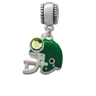 Small Green Football Helmet Charm Bead with Peridot Crystal Dangle Jewelry
