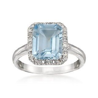 3.90 Carat Blue Topaz Ring With Diamonds in Sterling Silver. Size 5 Jewelry