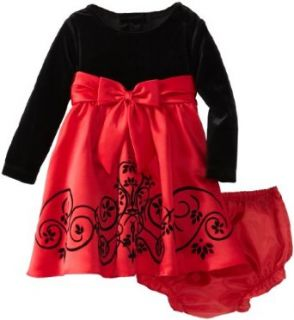 Rare Editions Baby Baby girls Infant Stretch Velvet Bodice To Red Matte Satin Flocked Dress, Red/Black, 18 Months Clothing