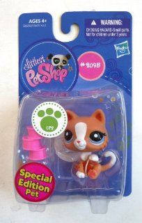 Littlest Pet Shop LPS Special Edition Pet #2095 Ginger Tabby Kitty Cat with Food Cans Toys & Games
