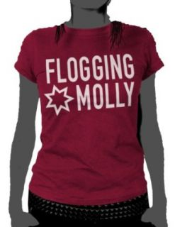 Flogging Molly   Star Logo Womens T Shirt In Cranberry, Size Small, Color Cranberry Clothing