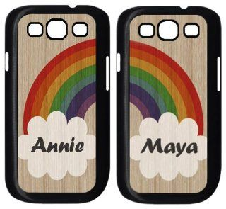 Set of TWO Rainbow Best friend   Name Custom Samsung Galaxy S3 ( fits i9300/i9308/i939) Case Cover Electronics