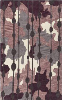 5' x 7.5' Opulence Ikat Purple and Charcoal Gray Hand Tufted Area Throw Rug