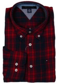 Tommy Hilfiger Mens Long Sleeve Custom Fit Button Front Shirt   XXL   Red Plaid at  Men�s Clothing store