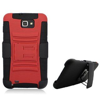 Red Black Rugged Hard Soft Gel Dual Layer Holster Clip Stand Cover Case for Samsung Galaxy Note N7000 SGH I717 SGH T879 Cell Phones & Accessories