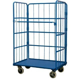 "Vestil ROL Steel Wire Cage Cart, 1 Shelf, Blue, 880 lbs Load Capacity, 66 3/4"" Height, 43 1/4"" Length X 31 3/4"" Width Service Carts"