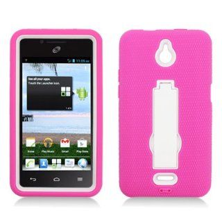 For Huawei Ascend Plus H881c (Straight Talk/Net 10) Layer Case, 3 in 1 w/Stand Hot Pink Skin+White Cover Cell Phones & Accessories