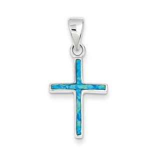 Thin Cross Pendant  Sterling Silver Blue Inlay Created Opal Thin Cross Pendant Jewelry