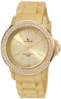 Laurens Women's GW70J905Y  Swarovski Crystal Bezel Gold Dial Rubber Watch Watches