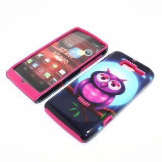 Hard Plastic Snap on Cover Fits Motorola XT907, XT890 Droid Razr M/I Cute Full Moon Owl Hot Pink Hybrid Verizon Cell Phones & Accessories