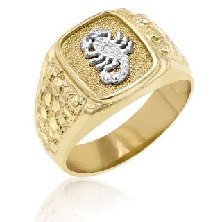 Men's 14K Yellow Gold Ring Accented With White Gold Scorpion Jewelry
