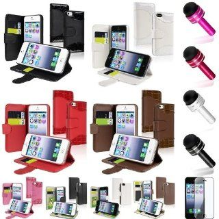 XMAS SALE Hot new 2014 model Credit Card Wallet Leather Case Flip Stand+Protector+Pen for iPhone 5 5th GenCHOOSE COLOR Cell Phones & Accessories