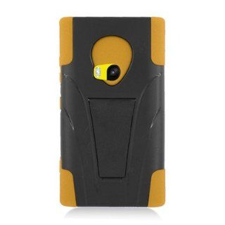 For Nokia Lumia 920 Hybrid Rubber Hard Case Yellow Black with Y Shape Stand