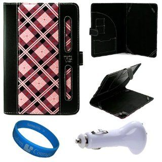 Pink Zebra Executive Leather Portfolio Carrying Case Cover for  Kindle Fire 7 inch Multi Touch Screen Tablet   8GB Android Wireless (Wifi) Tablet + White USB Car Charger + SumacLife TM Wisdom Courage Wristband Computers & Accessories