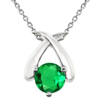 0.77 Ct Round Green VS Nano Emerald 14K White Gold Pendant Jewelry