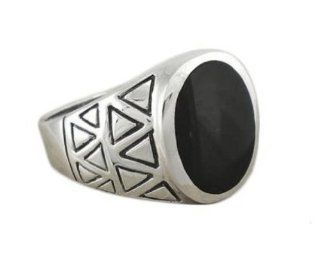 925 Sterling Silver Mens Genuine Black Oval Onyx Exotic Aztec Ring Jewelry