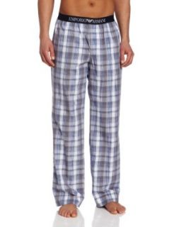 Emporio Armani Men's Woven Mix Cotton Trousers, White/Grey/Blue, Large at  Men's Clothing store