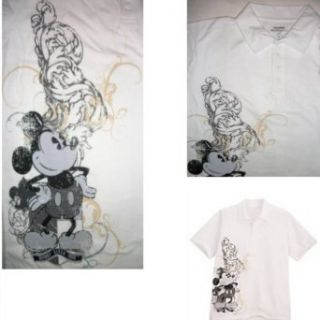 DISNEY MICKEY MOUSE POLO SHIRT Mens White Short Sleeve Cotton Distressed Art (L) Clothing