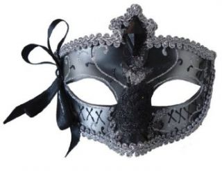 MARDI GRAS EYE MASK SILVER BLA Clothing