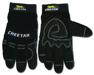 MCR Safety 935CHL Cheetah Synthetic Leather Mechanic Style Gloves with Vented Finger Sidewalls and Fourchettes, Black, Large, 1 Pair   Work Gloves