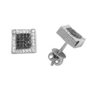 ES915 m Sterling Silver High Quality Black and CZ Micro Pave 9mm Screw Post Earrings Jewelry