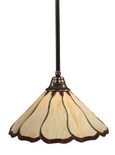 Toltec Lighting 26 BC 916 Stem Pendant Light Black Copper Finish with Honey and Burgundy Flair Tiffany Glass, 16 Inch   Ceiling Pendant Fixtures