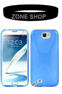 "Zone Shop (TM) Blue X Line Type Shape Texture TPU Case Skin Cover for Samsung Galaxy Note 2 II N7100 + ""ZONE SHOP"" Bracelet Cell Phones & Accessories"