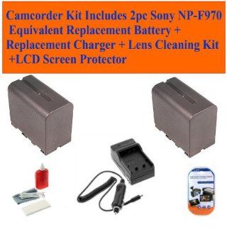 Sony Ccd tr917, Ccd tr930, Ccd tr940, Ccd trt97, Ccd trv Series, Ccd trv101 Camcorder Kit Includes 2pc Sony Np f970 Equivalent Replacement Battery + Replacement Charger + Lens Cleaning Kit + LCD Screen Protector  Camera & Photo