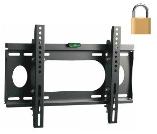 "InstallerParts Flat TV Mount 23~37"" Lockable Tilt Slim Type WLT102S   For LCD LED Plasma TV Flat Panel Displays    This Locking Wall Mount Bracket is Perfect for Hotels or Outdoor Locations. Fits Toshiba, Samsung, LG, Vizio, Panasonic, Sony and More"