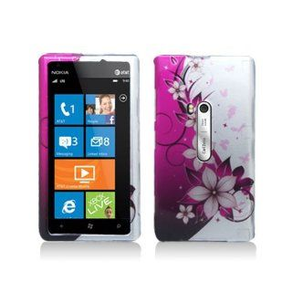 Purple Silver Flower Hard Cover Case for Nokia Lumia 920 Cell Phones & Accessories