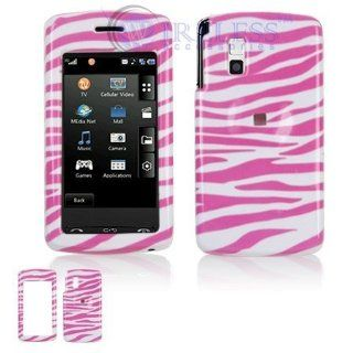 LG Vu CU920/CU915 Cell Phone Pink/White Zebra Design Protective Case Faceplate Cover
